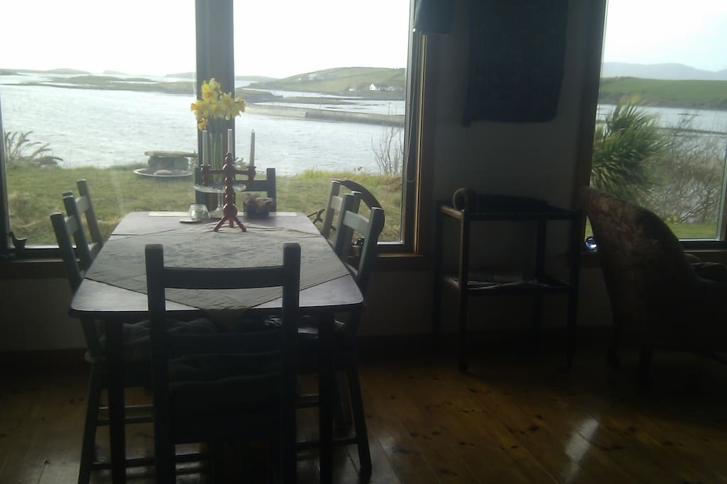 Dining table looking out at the sea
