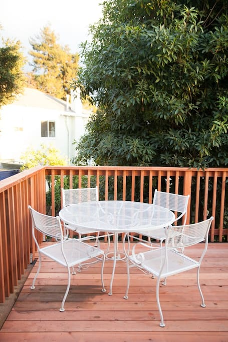 The private back patio deck is perfect for coffee and family breakfast.