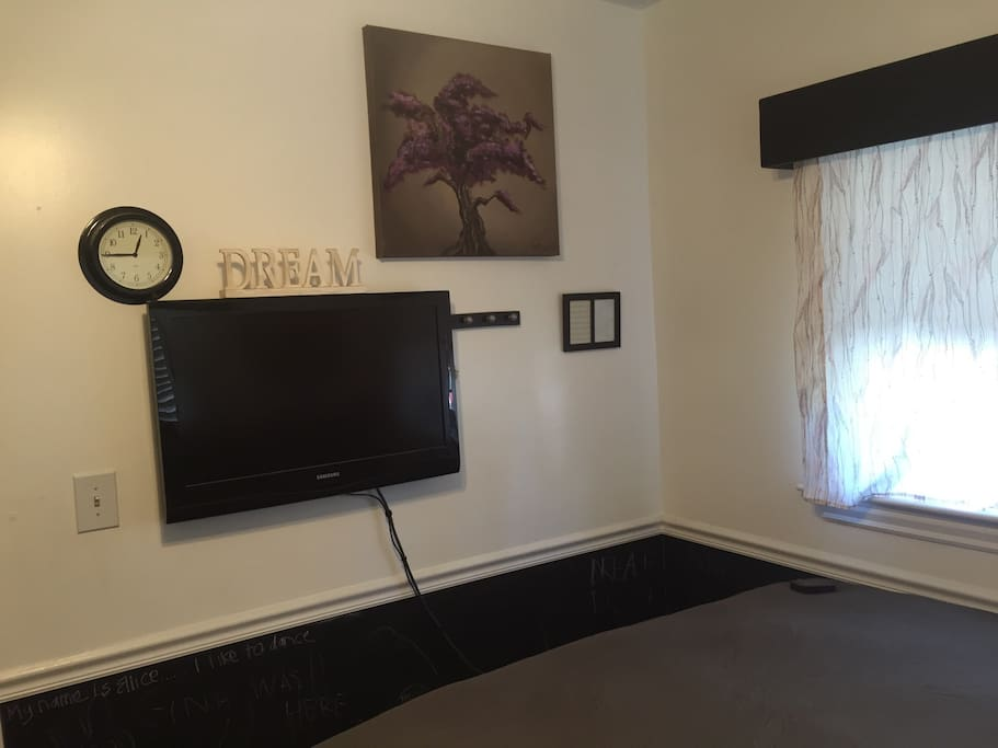 Bedroom TV access with AppleTV with Netflix and Hulu accounts.