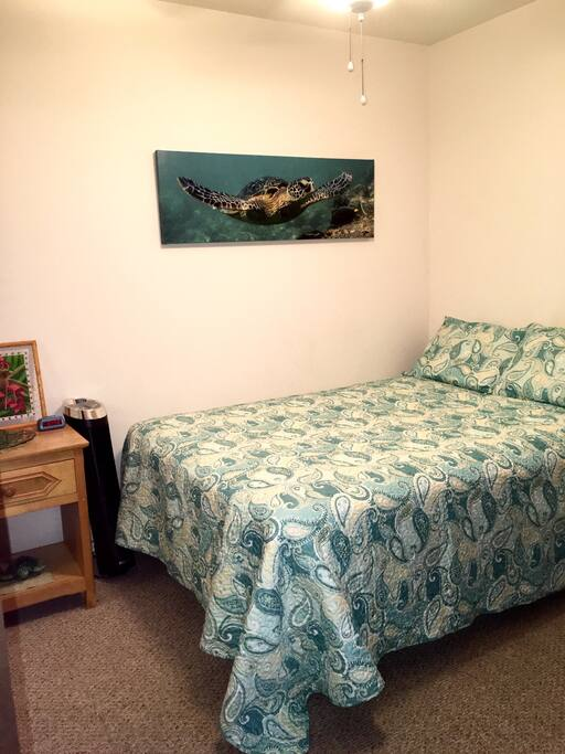 Review of the bedroom with the full bed