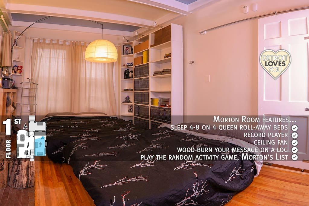 Morton Room / Living Room ~ 1st floor ~ sleep 4-8 on 4 queen roll-out beds ~ record player ~ largest room