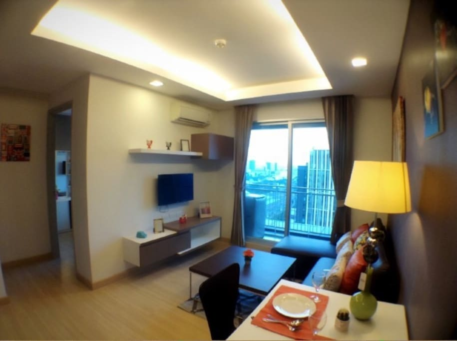 Good view of living room on high floor.