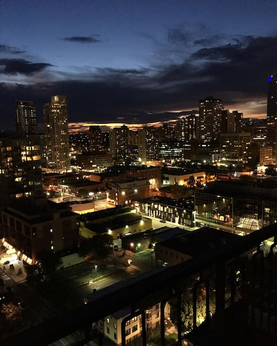Night time view of downtown Calgary, facing NW.