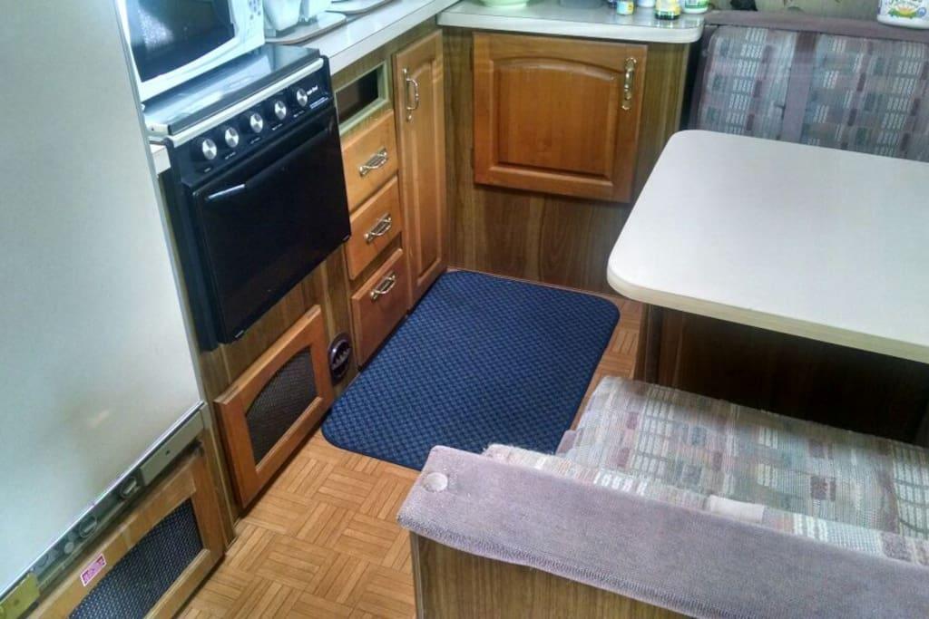 Kitchenette in trailer.