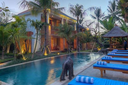 Boutique Resort! Pool, Wifi, TV, Spotless, 8min walk to Yoga Barn & Ubud Centre, Breakfast incl for day/wk rates.  All rooms have garden/pool view, twins or dbl bed, cafes, restos,  scooters, tours etc, pickup avbl* Central and walk to everything.