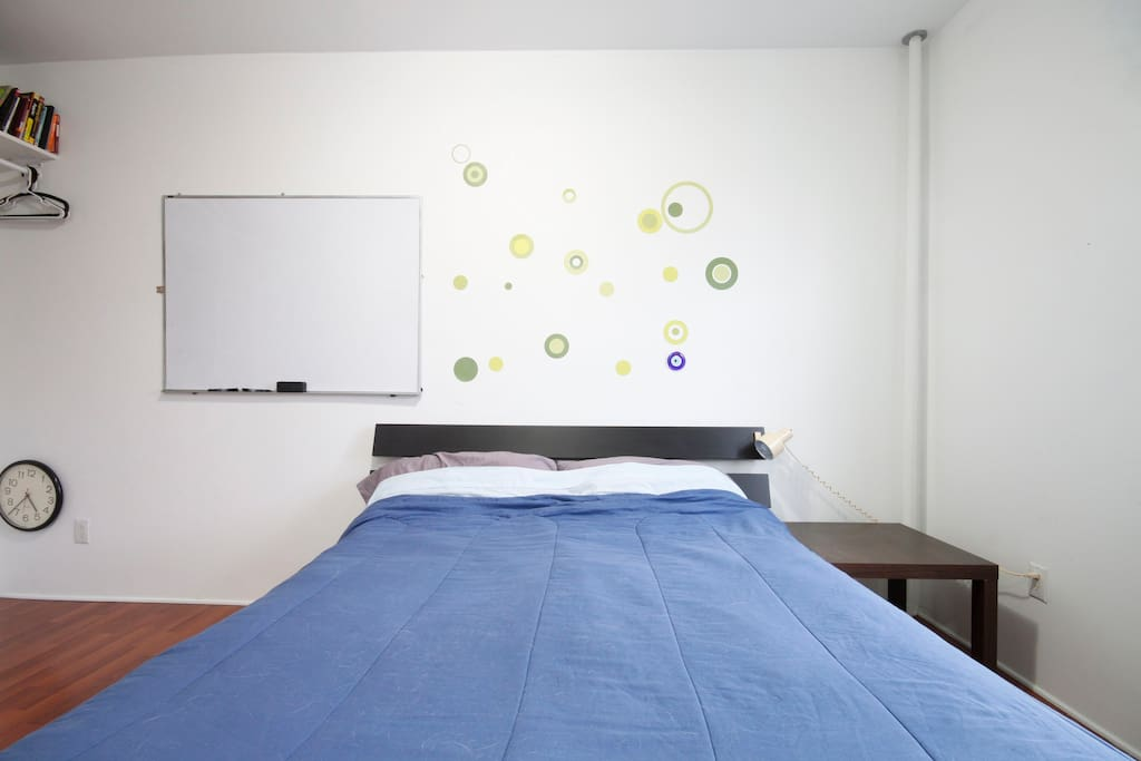Queen bed, nightstand, night light - thanks IKEA!