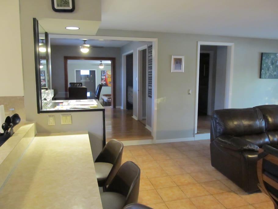 Breakfast bar looking through Dining Room to Guest Bedroom #3