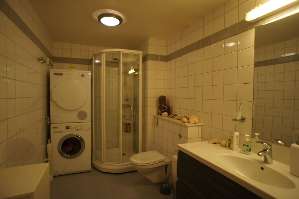 Bathroom withwasher and dryer.