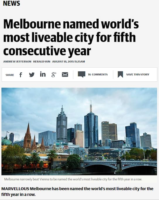Melbourne- Worlds most livable city again! 2015