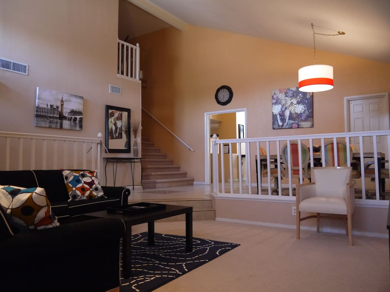 High Vaulted Ceilings - Living and Dining room