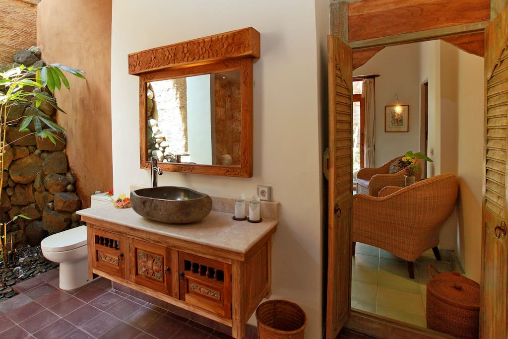 Here's another view of the large bathroom showing the blend of traditional style with modern convenience.