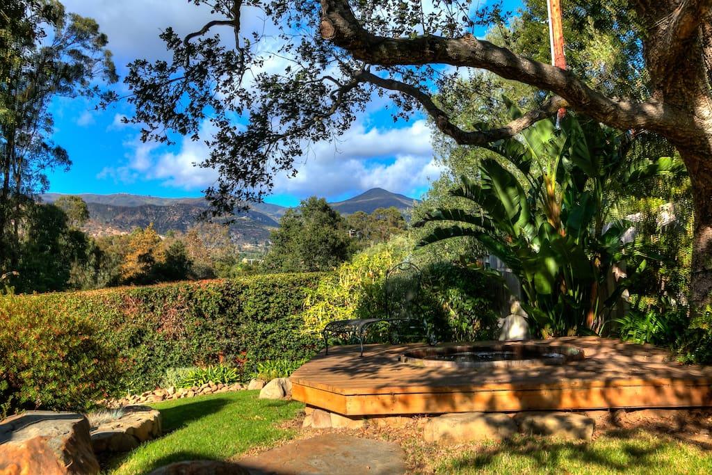 Panoramic views of the Santa Barbara mountains from the backyard hot tub.
