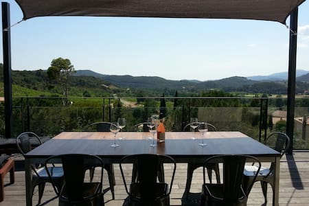 Maison loft belle vue et piscine - Roquebrun