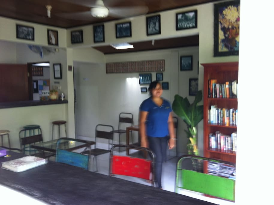Communal area with small library