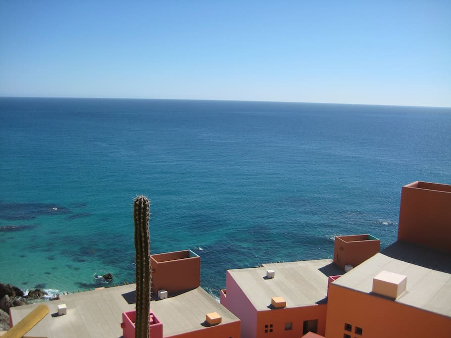 View of the ocean from one of the villa balconies of the dining room