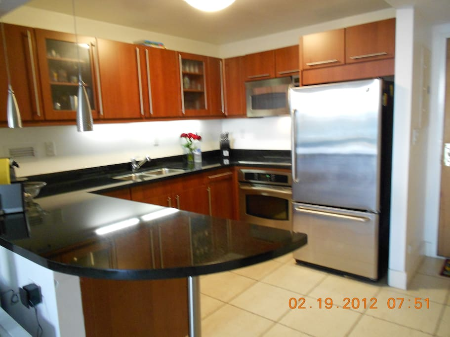 Full size kitchen-Granite counters, microwave, oven, all dishes, utensils etc.