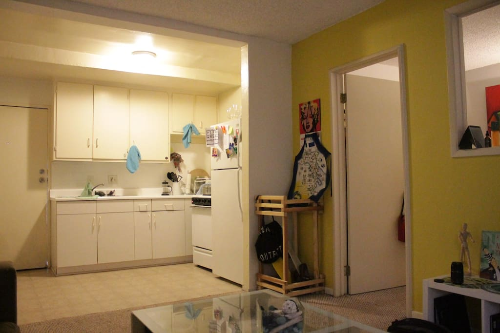 Kitchen and entrance to my lovely apartment.