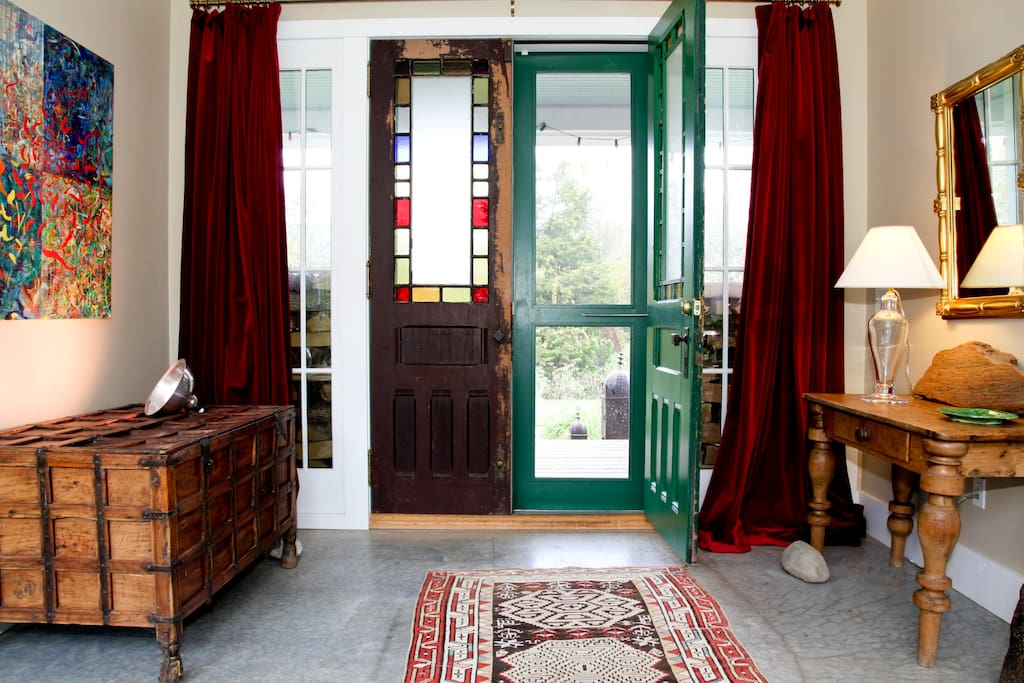West Wing private entrance through Eastlake stained glass doors