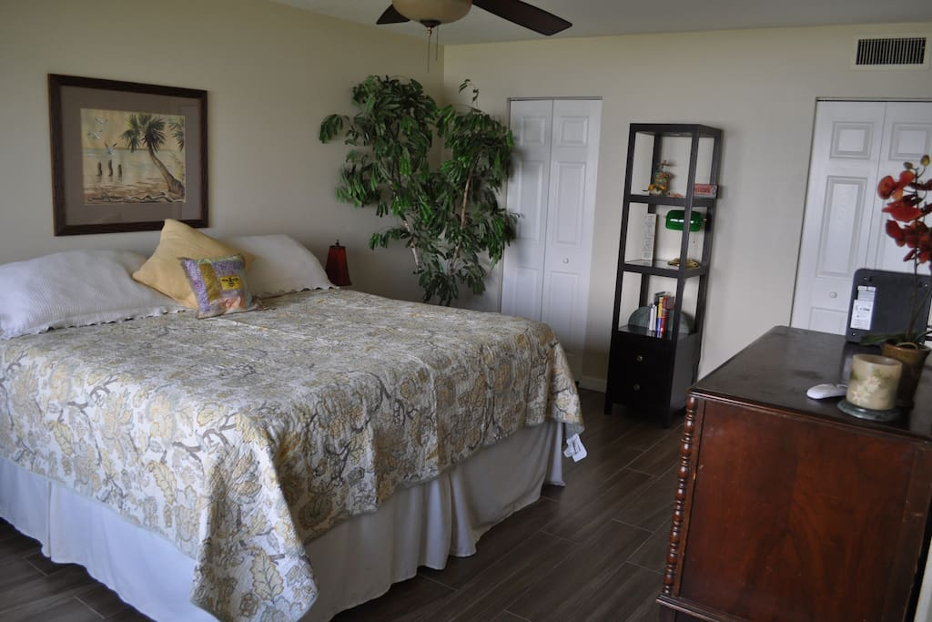 Master bedroom King size pillow top bed.