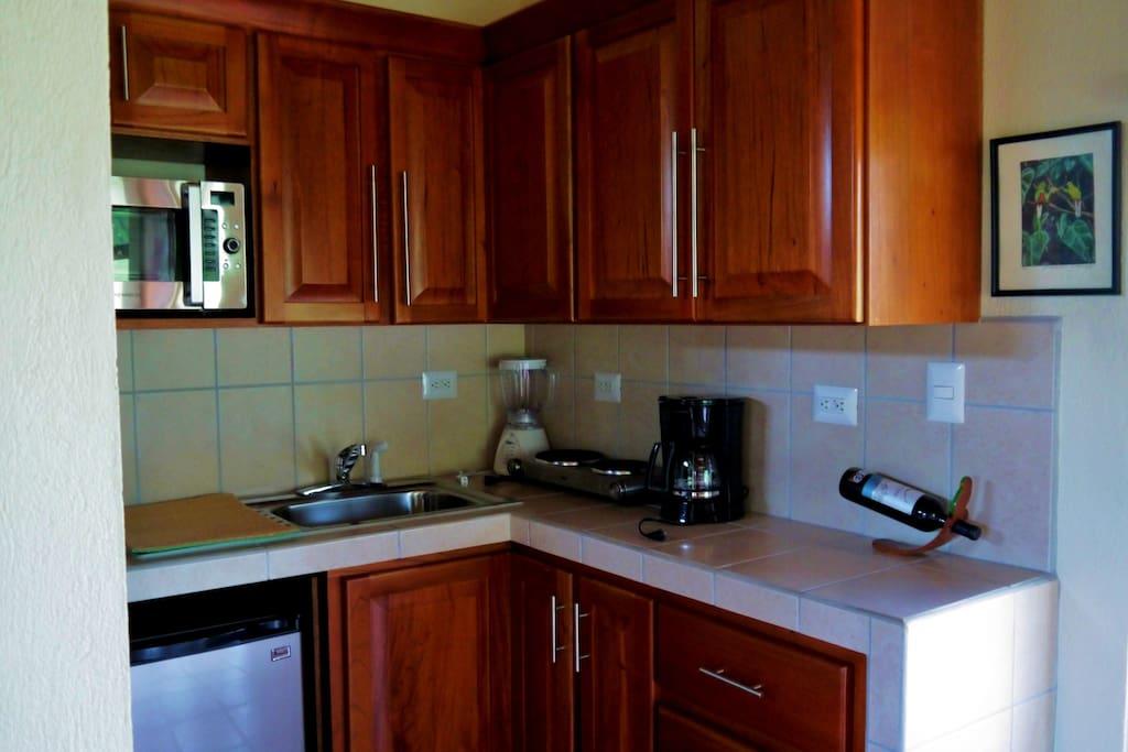 The kitchenette. Mini fridge, microwave-oven, two burner stove top, coffee maker, blender, full on kitchen equipment to cook.
