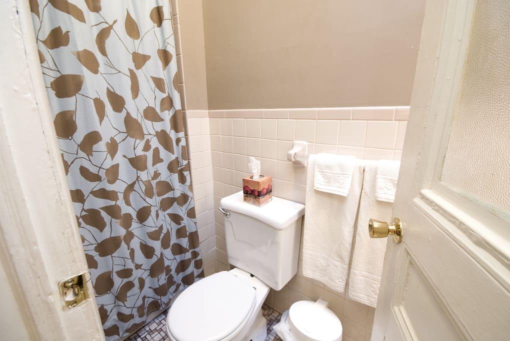 Shower/tub combo - bath towels provided
