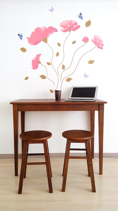 Table and Chairs for enjoying dining, writing, working etc.
