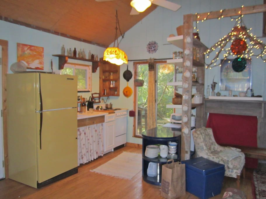 Kitchen is stocked with pots, pans, dishes, dehydrator, all you could need.