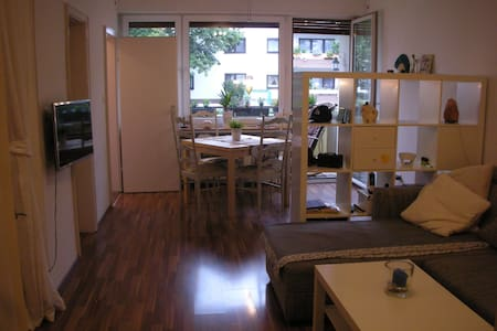 Hello,  I would like to offer you this nice and silent flat. It is about 40m². If you need to go to the Messe München this is your perfect place.