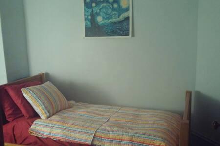 Colorful room in quiet neighborhood