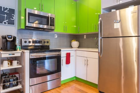 4 blocks to subway (A/C). 18 Min subway ride to Manhattan. Bus nearby. 10 Min subway ride to Barclay Stadium. Next door to park with outdoor track. Same amenities you'd see at a hotel, plus friendly and accommodating.  Up and Coming Area of Brooklyn