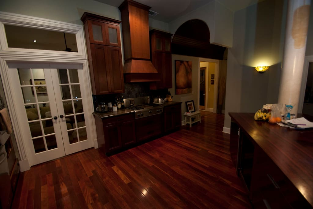 The kitchen is large and open to guests