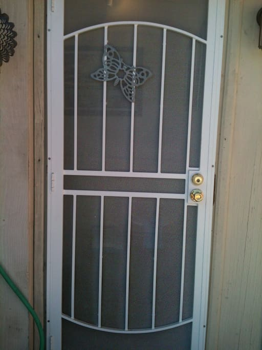This is the entrance to your unit. Security lock screen door.