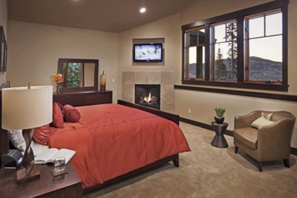 2nd Master Suite with private bath, gas fireplace, tv, and private balcony