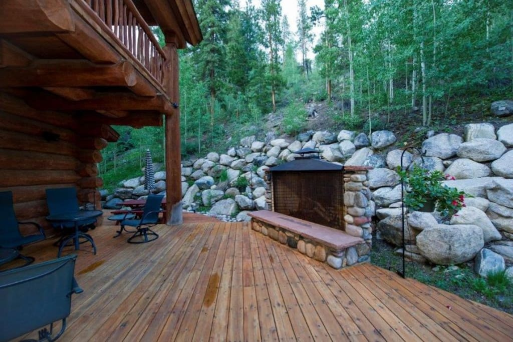 Back patio and outdoor fireplace