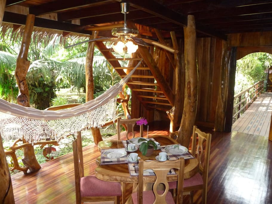 dining area,terrace with hammock to relax & enjoy the sounds of the