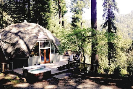 Geodesic dome in a redwood clearing