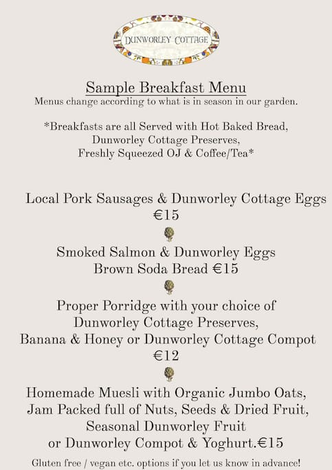 Sample Breakfast Menu. Read our Airbnb reviews to learn more!