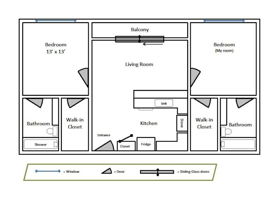 The available room (top left) has its own bathroom and walk-in closet. The room is lightly furnished with a full-size bed, a table and chair, and the bathroom is stocked with the basics.