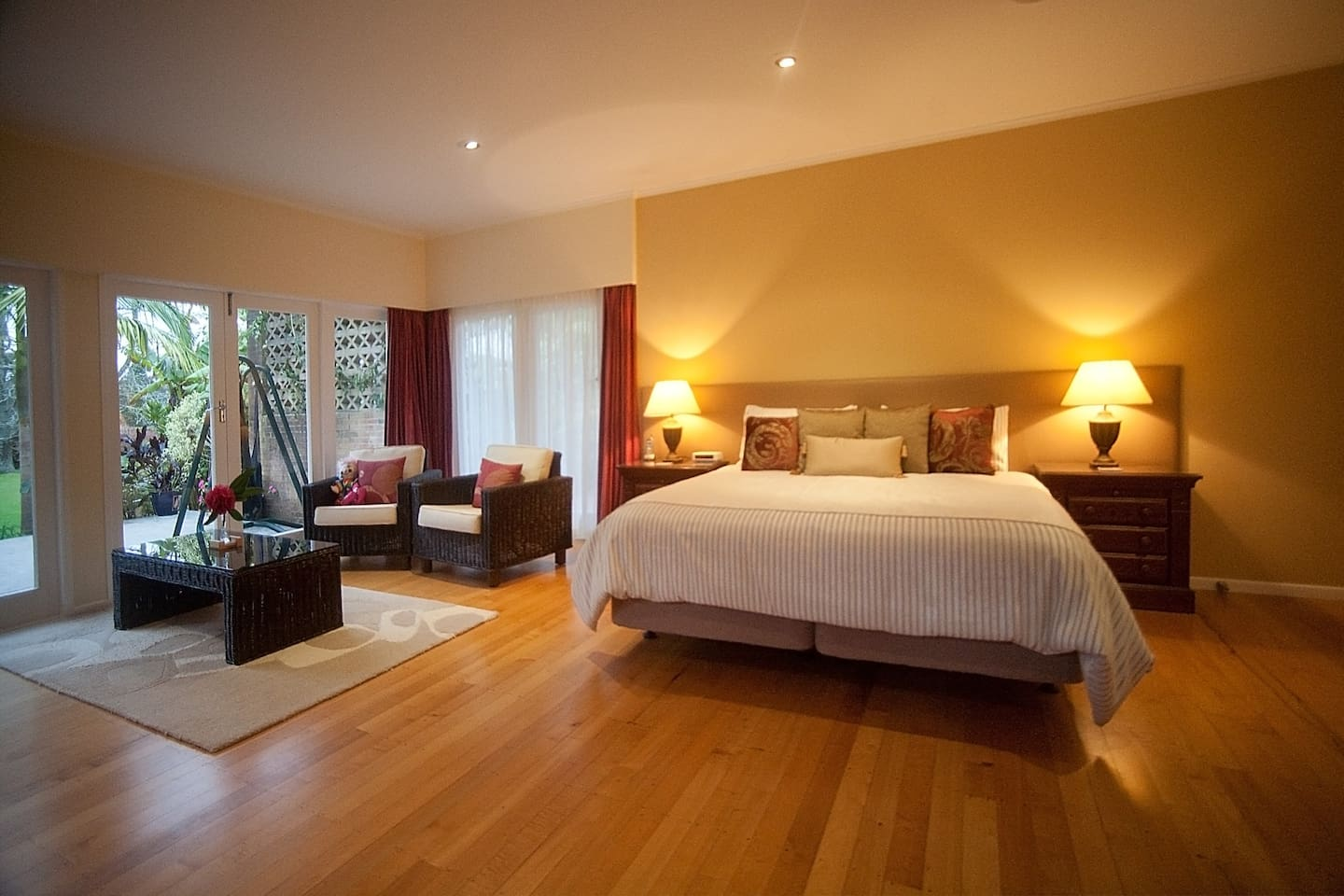 The Majestic Suite, has triple aspect views if the gardens, and a super king sized bed.