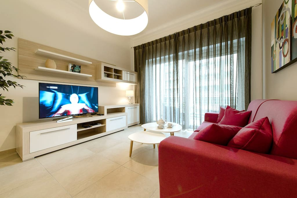 "Living Area equipped with 50"" Smart LCD TV and Free WiFi"