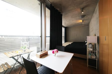 The nearest station is Omiya station. This room is located in the center of Kyoto. You can stay to 3 people in an apartment of one room. It is a very quiet place. There are many shops and restaurants in near the room.