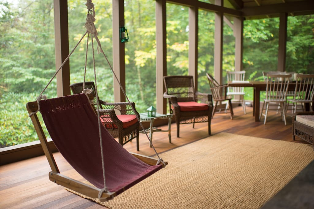 Spacious and Private Rear Porch with Dining Table for Eight plus BBQ Grill