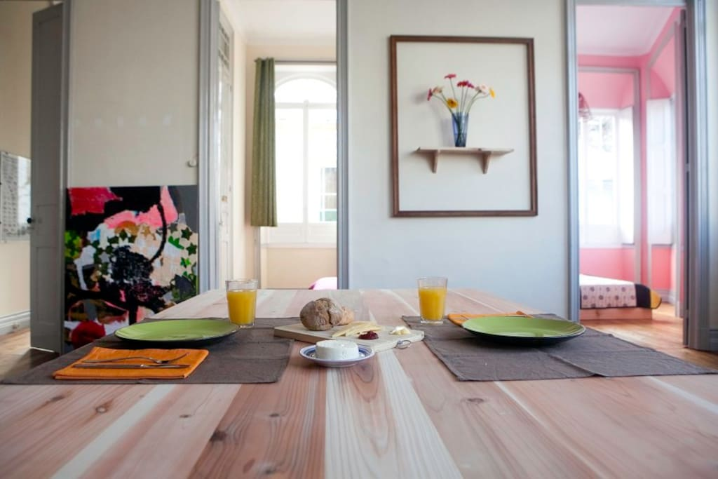 The apartment has a big and comfortable living-room with one sofa, and dining table for 8 to 10 people. The breakfast will be served in the living-room or next to your room door on the breakfast table in the morning (until 10 a.m.).