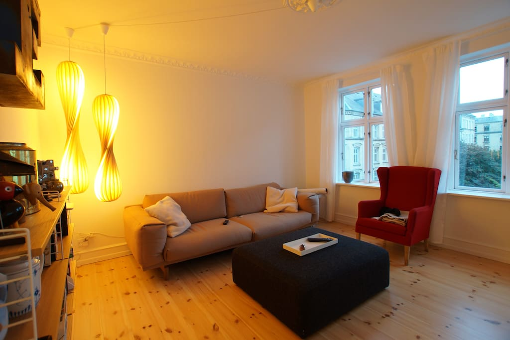 Awesome living with Scandinavian design furnitures and lighting. Great view down the street with lots of trees.