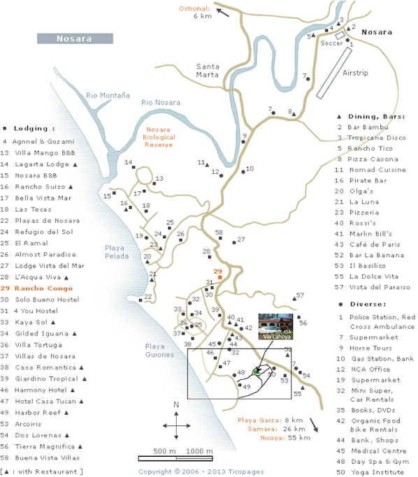 Playa Guiones local town map