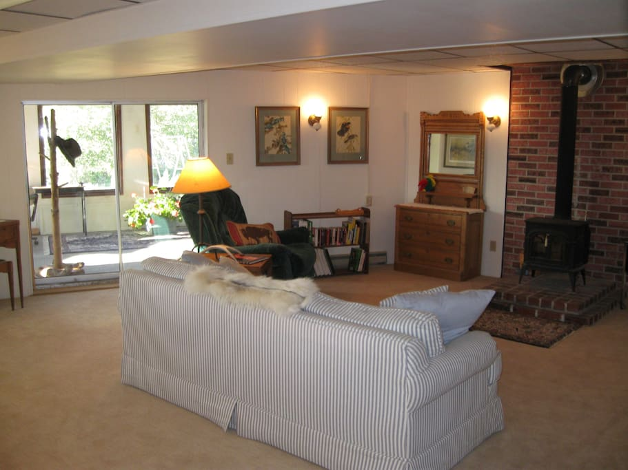 spacious family room with comfortable sleeper couch