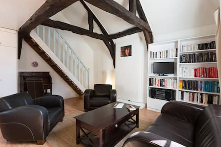 """The """"Charming Loft"""" is a fully equipped apartment, bright and comfortable that has kept the charm of the old ( high ceilings , beams ...). It's perfectly located in the historic Rennes and the view on the Cathedral Saint Pierre will delight you ."""