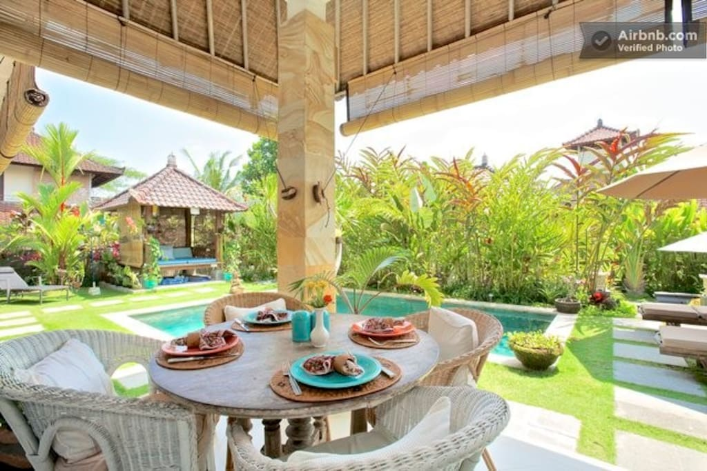 Breakfast Table Overlooking the Pool and Gardens