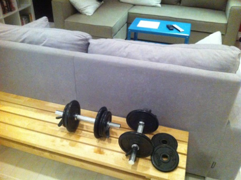 No reason for stopping workouts ;-) You can use my dumbbells