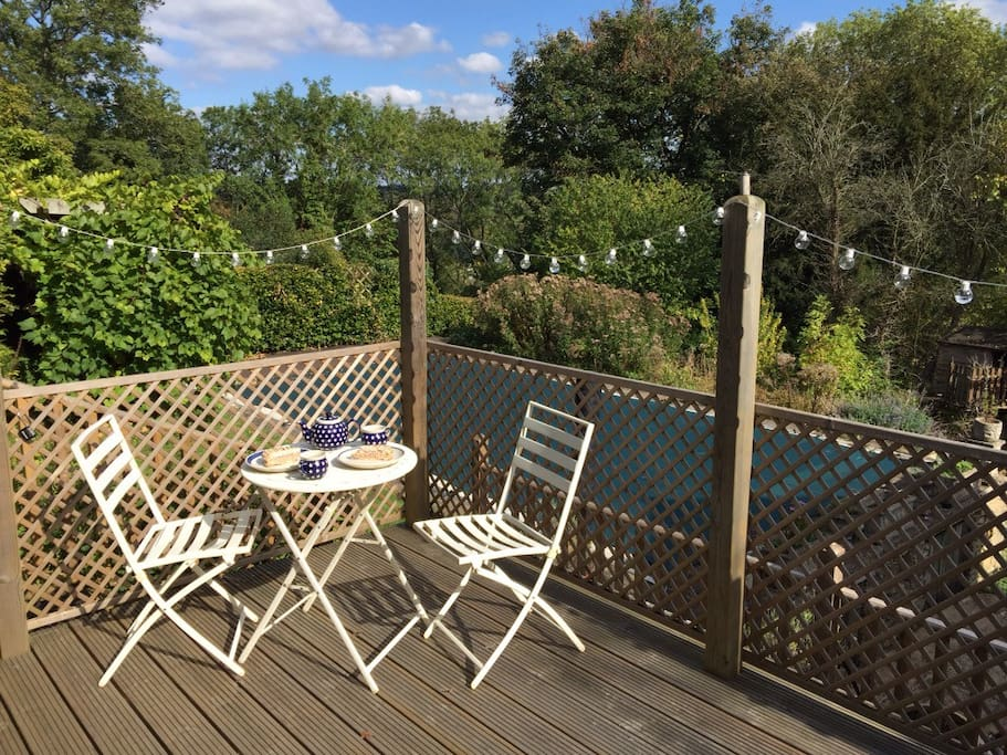 The decking terrace for breakfast or afternoon tea.  Your private entrance to the apartment is from here.